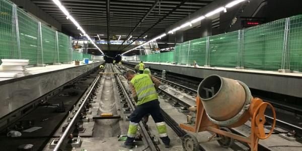 Obras en vías de metro